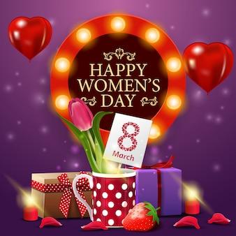 Plantilla de tarjeta púrpura de felicitación de día de las mujeres con tulipán