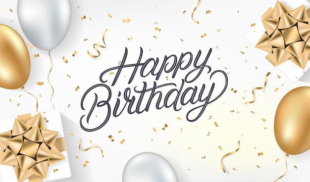 Plantilla de tarjeta realista feliz cumpleaños