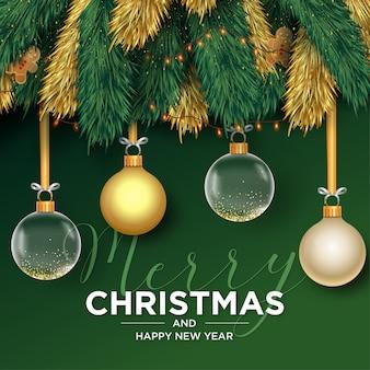 Plantilla de tarjeta realista de feliz navidad y próspero año nuevo