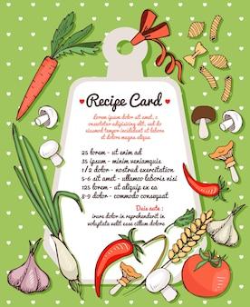 Plantilla de tarjeta de receta con espacio de texto rodeado de verduras frescas, setas y especias con una variedad de pasta italiana seca