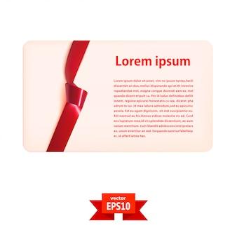 Plantilla de tarjeta de regalo en blanco con una cinta de seda roja y un nudo. ilustración vectorial