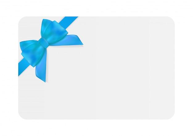 Plantilla de tarjeta de regalo en blanco con lazo azul y cinta