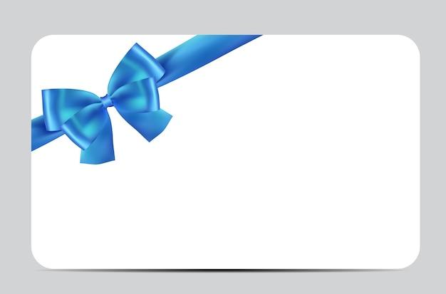 Plantilla de tarjeta de regalo en blanco con lazo azul y cinta.