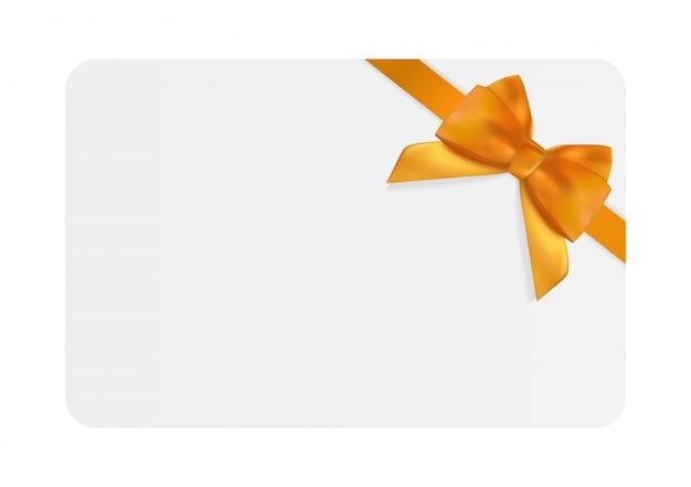 Plantilla de tarjeta de regalo en blanco con lazo naranja y cinta