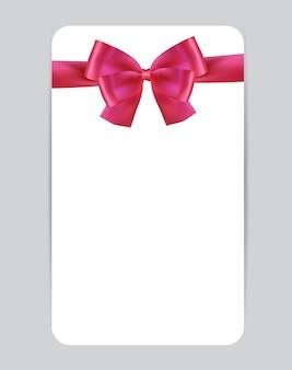 Plantilla de tarjeta de regalo en blanco con lazo rosa y cinta