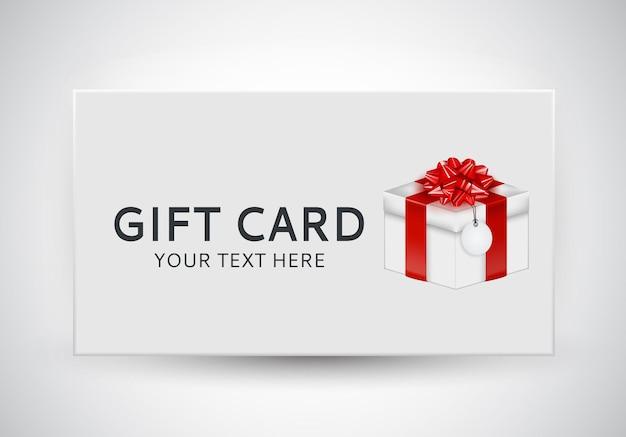 Plantilla de tarjeta de regalo con caja de regalo, lazo y cinta