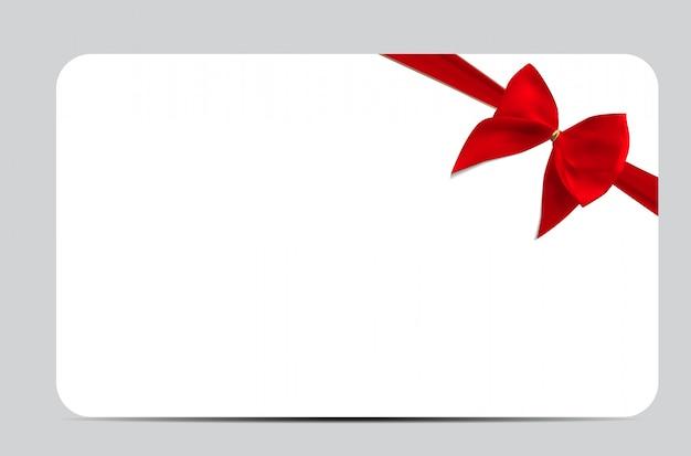 Plantilla de tarjeta de regalo con cinta de seda roja y lazo. ilustrar