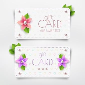 Plantilla de tarjeta de regalo con flor, perla. tarjeta de descuento de vector.