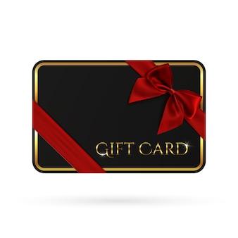 Plantilla de tarjeta de regalo negra con cinta roja y un lazo.