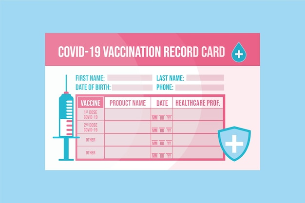 Plantilla de tarjeta de registro de vacunación de coronavirus plana