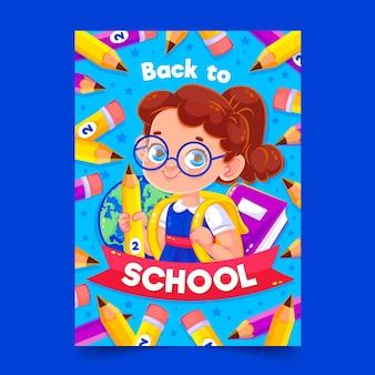 Plantilla de tarjeta de regreso a la escuela con chica ilustrada