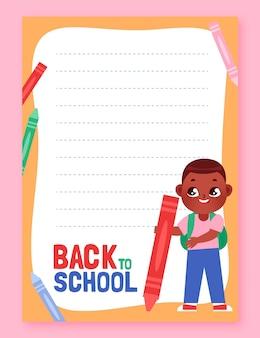 Plantilla de tarjeta de regreso a la escuela de dibujos animados