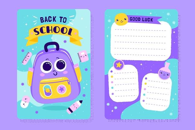 Plantilla de tarjeta de regreso a la escuela con ilustraciones