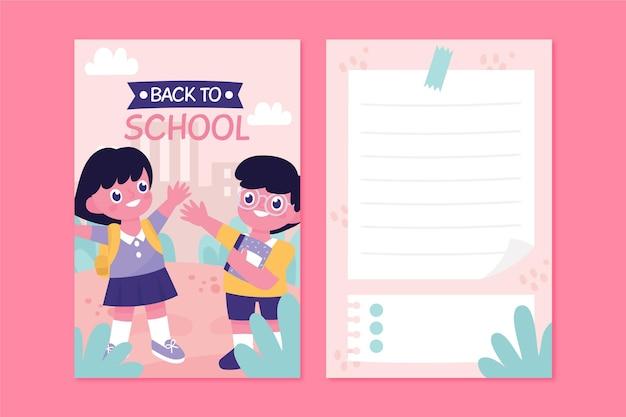 Plantilla de tarjeta de regreso a la escuela con niños