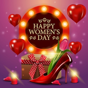 Plantilla de tarjeta rosa de felicitación para el día de la mujer con zapato de mujer