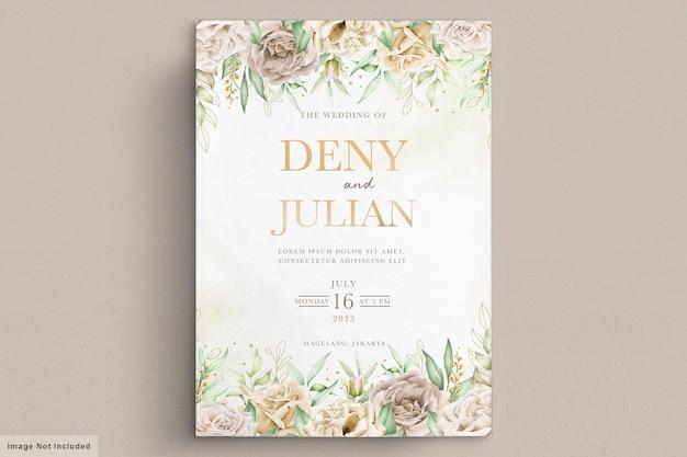 Plantilla de tarjeta de rosas blancas acuarela