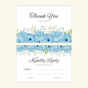Plantilla de tarjeta rsvp de boda con decoración rosa acuarela azul