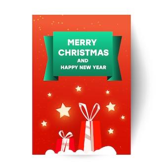 Plantilla de tarjeta de saludos de feliz navidad con elemento de navidad. hermosas cajas de regalos sorpresa rojas, cielo estrellado y la inscripción en una llanura roja