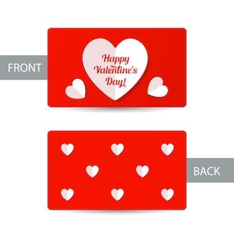 Plantilla de tarjeta de san valentín con corazones de papel blanco