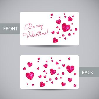 Plantilla de tarjeta de san valentín con corazones