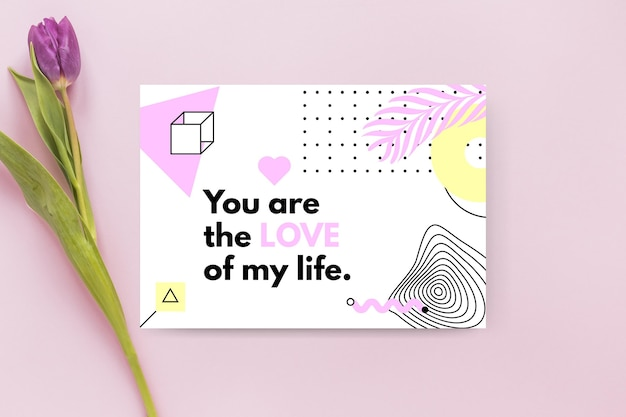 Plantilla de tarjeta de san valentín minimalista geométrica