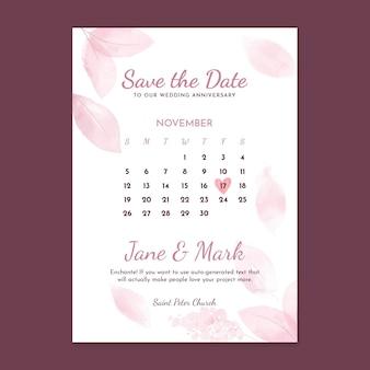 Plantilla de tarjeta vertical de aniversario de boda