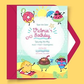 Plantilla de tarjeta vertical de cumpleaños para niños