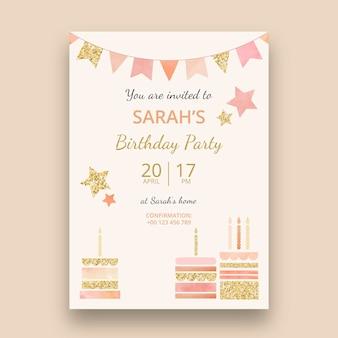 Plantilla de tarjeta vertical de cumpleaños