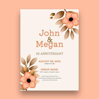 Plantilla de tarjeta de vigésimo quinto aniversario de boda
