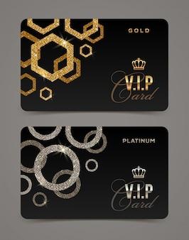 Plantilla de tarjeta vip dorada y platino. ilustración.