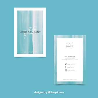 Plantilla de tarjeta de visita abstracta acuarela