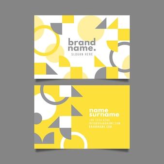 Plantilla de tarjeta de visita abstracta amarilla y gris