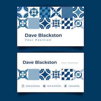 Plantilla de tarjeta de visita abstracta azul clásica