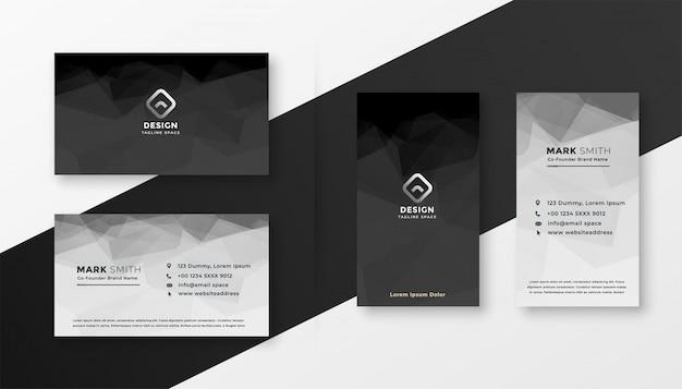 Plantilla de tarjeta de visita abstracta blanco y negro