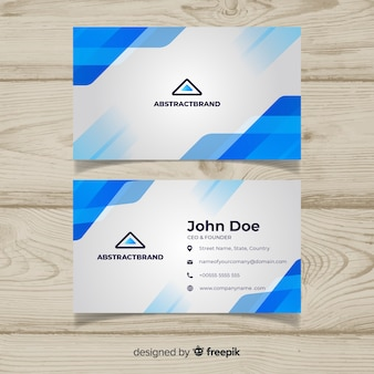 Plantilla de tarjeta de visita abstracta con colores azules
