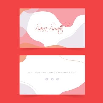Plantilla de tarjeta de visita abstracta con colores pastel