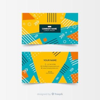 Plantilla de tarjeta de visita abstracta colorida en estilo memphis