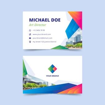 Plantilla de tarjeta de visita abstracta con concepto de foto