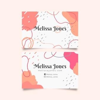 Plantilla de tarjeta de visita abstracta con concepto de manchas de color pastel