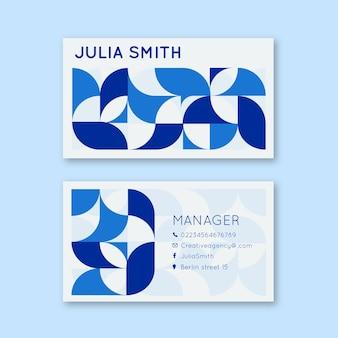 Plantilla de tarjeta de visita abstracta de diseño azul mosaico