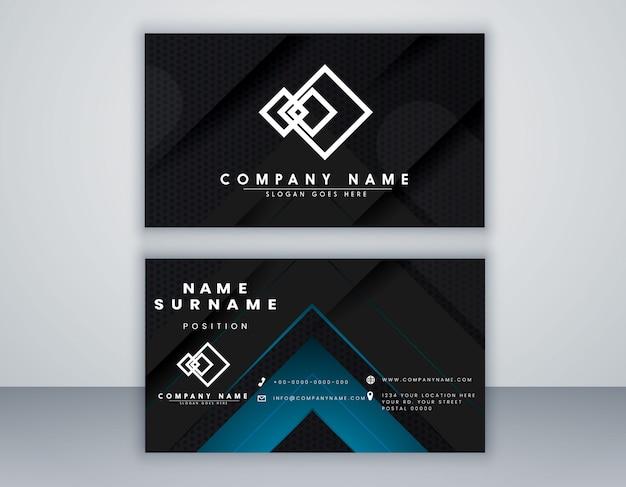 Plantilla de tarjeta de visita abstracta diseño minimalista de color negro y azul