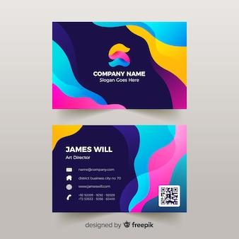 Plantilla de tarjeta de visita abstracta con efecto líquido