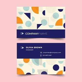 Plantilla de tarjeta de visita abstracta en estilo memphis
