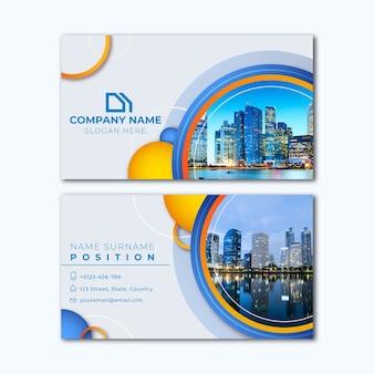 Plantilla de tarjeta de visita abstracta con imagen de la ciudad