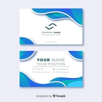 Plantilla de tarjeta de visita abstracta con líneas de colores fríos
