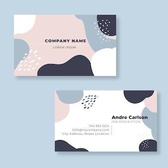 Plantilla de tarjeta de visita abstracta de manchas de color pastel