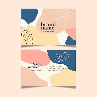 Plantilla de tarjeta de visita abstracta con manchas pastel