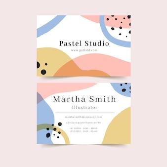 Plantilla de tarjeta de visita abstracta con manchas y puntos coloridos
