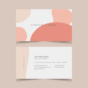 Plantilla de tarjeta de visita abstracta con paquete de manchas de color pastel