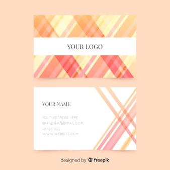 Plantilla de tarjeta de visita abstracta y rayada